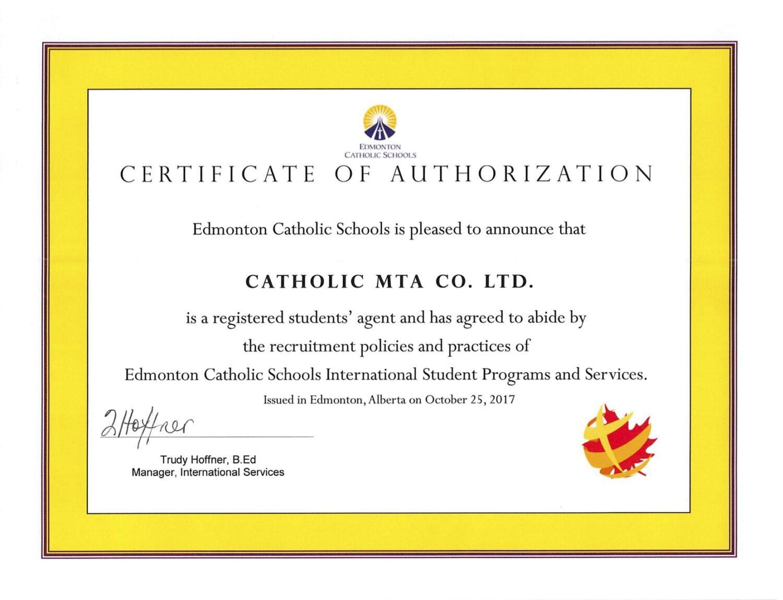 Chung nhan agent Edmonton Catholic Schools