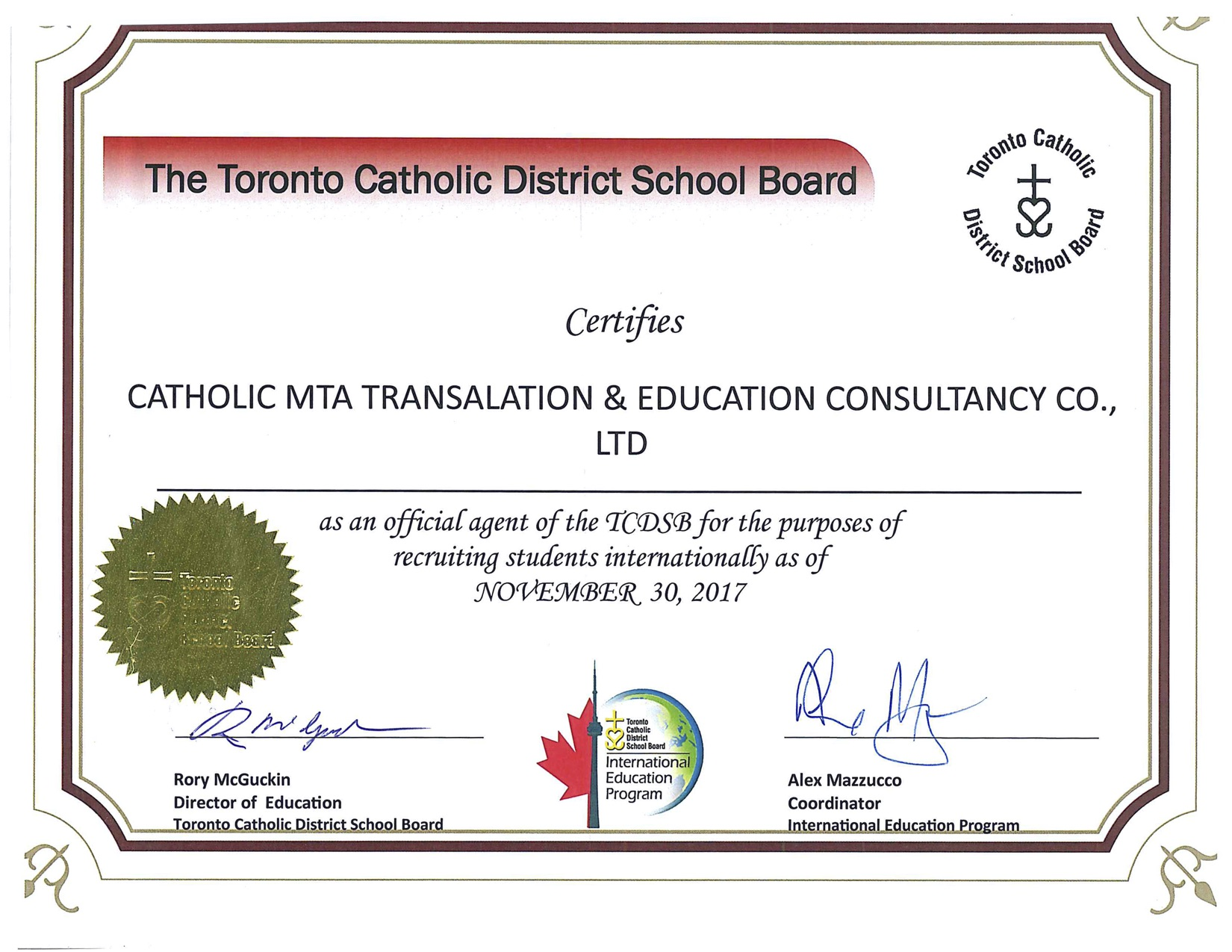 Chung nhan agent Toronto Catholic District School Board