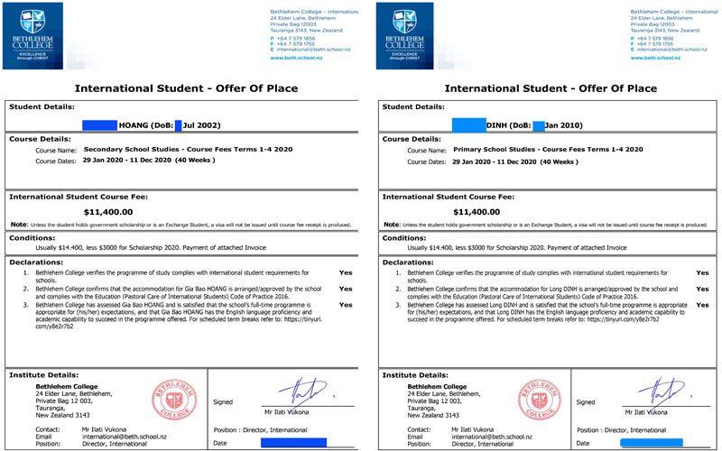 Học bổng trung học new zealand 2020