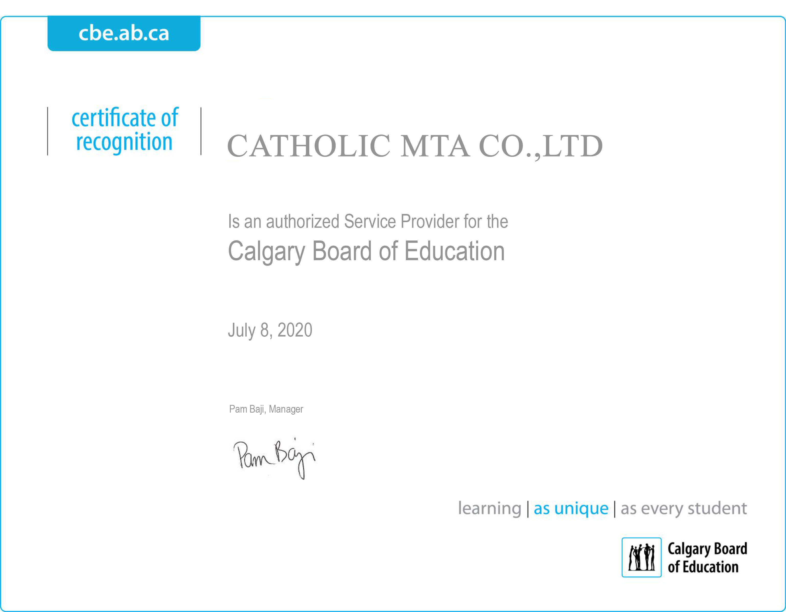 Certificate of Recognition CATHOLIC MTA CO